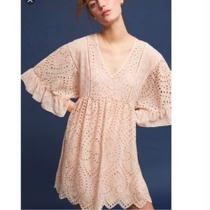 Anthro Akemi & Kin boho bell sleeve scallop dress